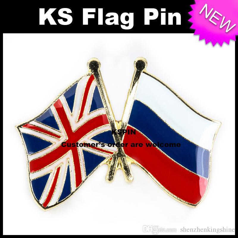 Pin 10pcs della bandierina del distintivo della bandierina di amicizia del Jack Russia del Regno Unito molto trasporto libero 0003