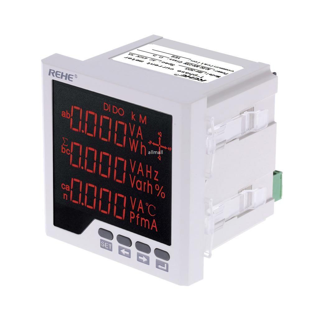 Freeshipping встроенный многоцелевой Измеритель мощности светодиодный цифровой 3-фазный вольтметр амперметр переменного тока напряжение тока коэффициент мощности измерение частоты