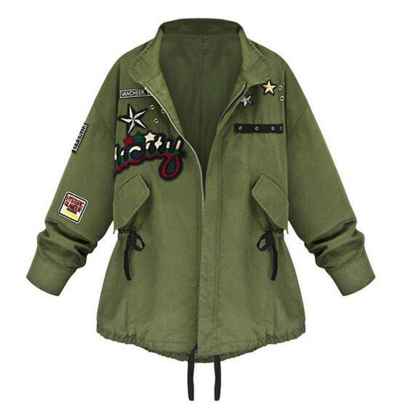 Mujeres bomber chaqueta ejército verde tops de manga larga Slim Turn-Down Cuello Outwear mujer abrigo básico primavera otoño