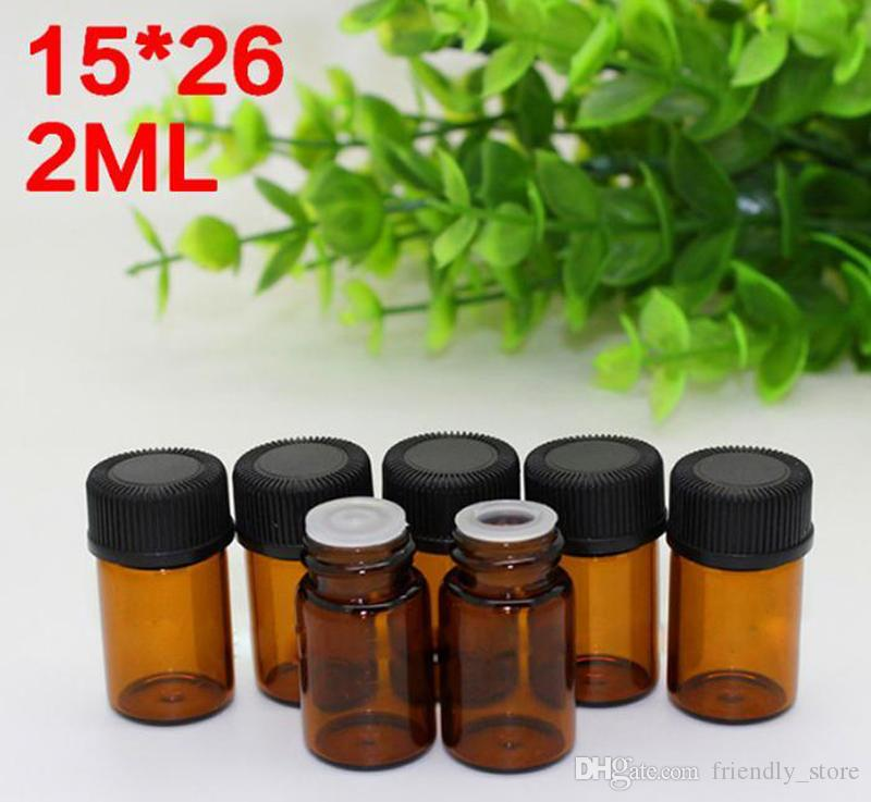 Hot Selling 2ml Essential Oil Sample bottles Vials Amber Mini Glass Bottles With Orifice Reducer And Black Plastic Screw Cap Free Shipping