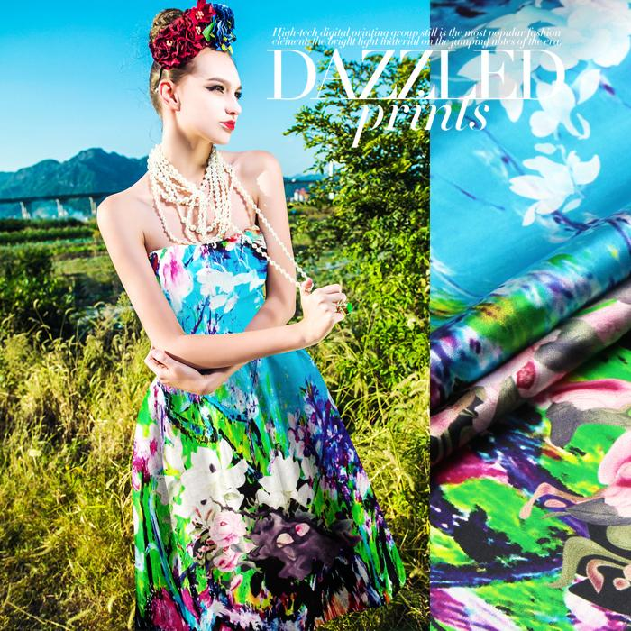 118 * 120 cm 19 mm 93% soie 7% spandex vert bleu tress et fleur impression tissu de satin de soie pour robe chemise vêtements