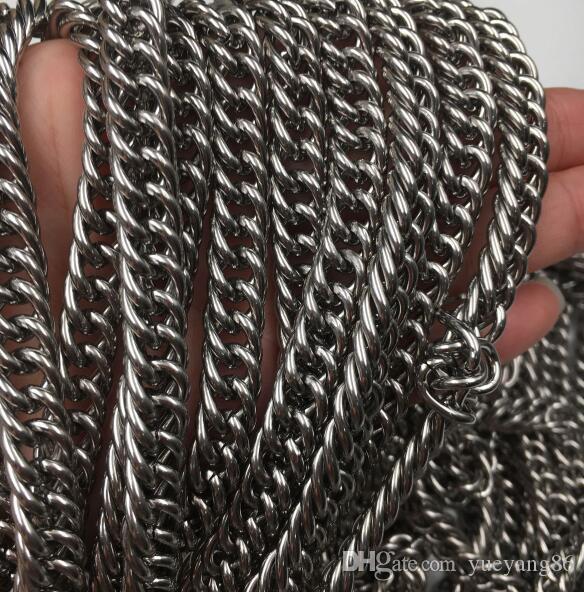 5 metri / lotto Vendita diretta in fabbrica Ricerca di gioielli Heavy 8.8mm Cordolo Catena a maglia Gioiello in acciaio inossidabile DIY SILVR