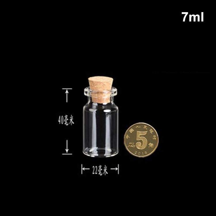 100 STÜCKE 7 ml 22x40mm Kleine Klare Leere Wunschglas mini süße Flasche Nachrichtenfläschchen Mit Korken