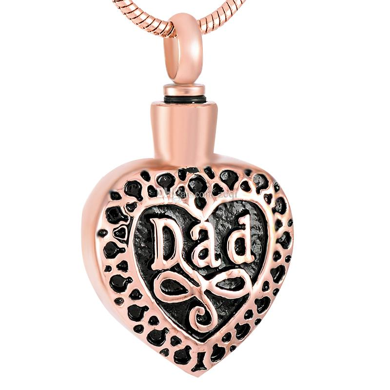 Dad Engraved Heart Stainless Steel Cremation Pendant Necklace Remembrance Ashes Keepsake Urn Necklace