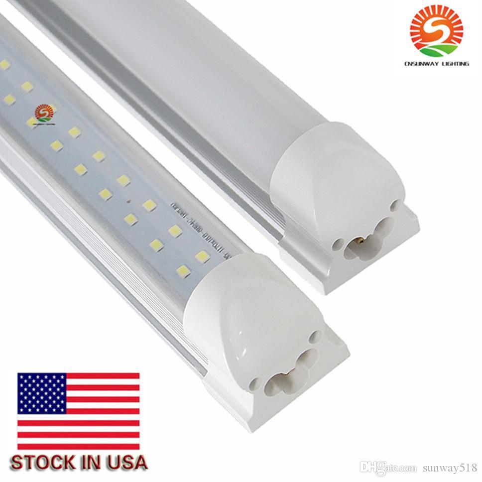 (Труба + основа) интегрированы светодиодные трубки свет лампы Т8 2400mm 2.4M 8 FT 72W 7800LM SMD 2835 384led светодиодные трубки T8 Stock США