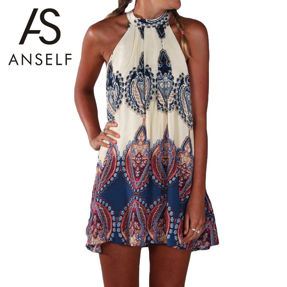 Wholesale- Anself Fashion Women Boho Dress Summer Loose Printed Halter Style Sleeveless Hippie Mini Dress Plus Size Women Clothing Vestidos