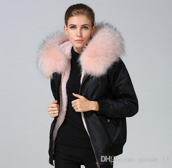 Nylon jackets pink raccoon fur trim Meifeng brand women snow coats pink rabbit fur lined black nylon bomber parka for cold winter weather
