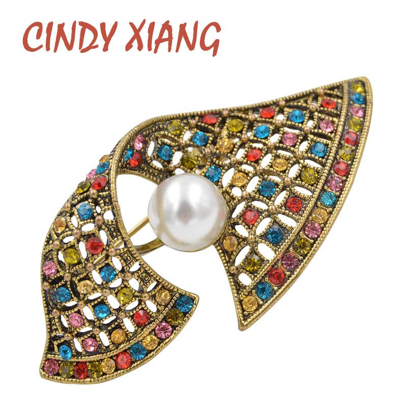 CINDY XIANG Rhinestone Vinatge Geometric Brooches for Women Bijouterie Geometric Brooch Pin Dress Suit Accessories High Quality