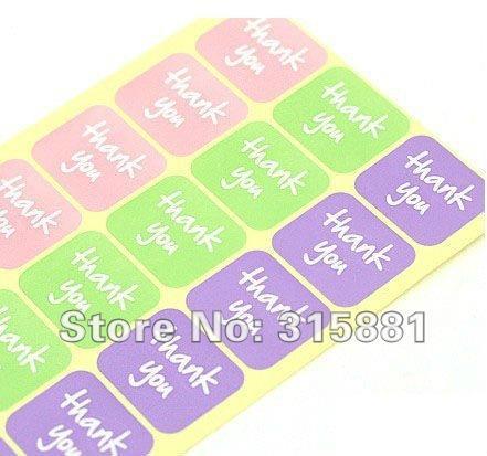 X100 merci autocollants rose violet marron or achat Small Business étiquettes
