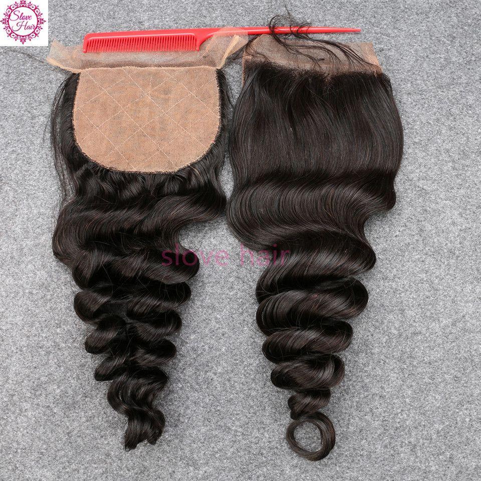 Fast and Free shipping 3 part Silk Base Closure Bleached Knots Human Hair Grade 8A Virgin Peruvian loose Wave Silk Base Closure