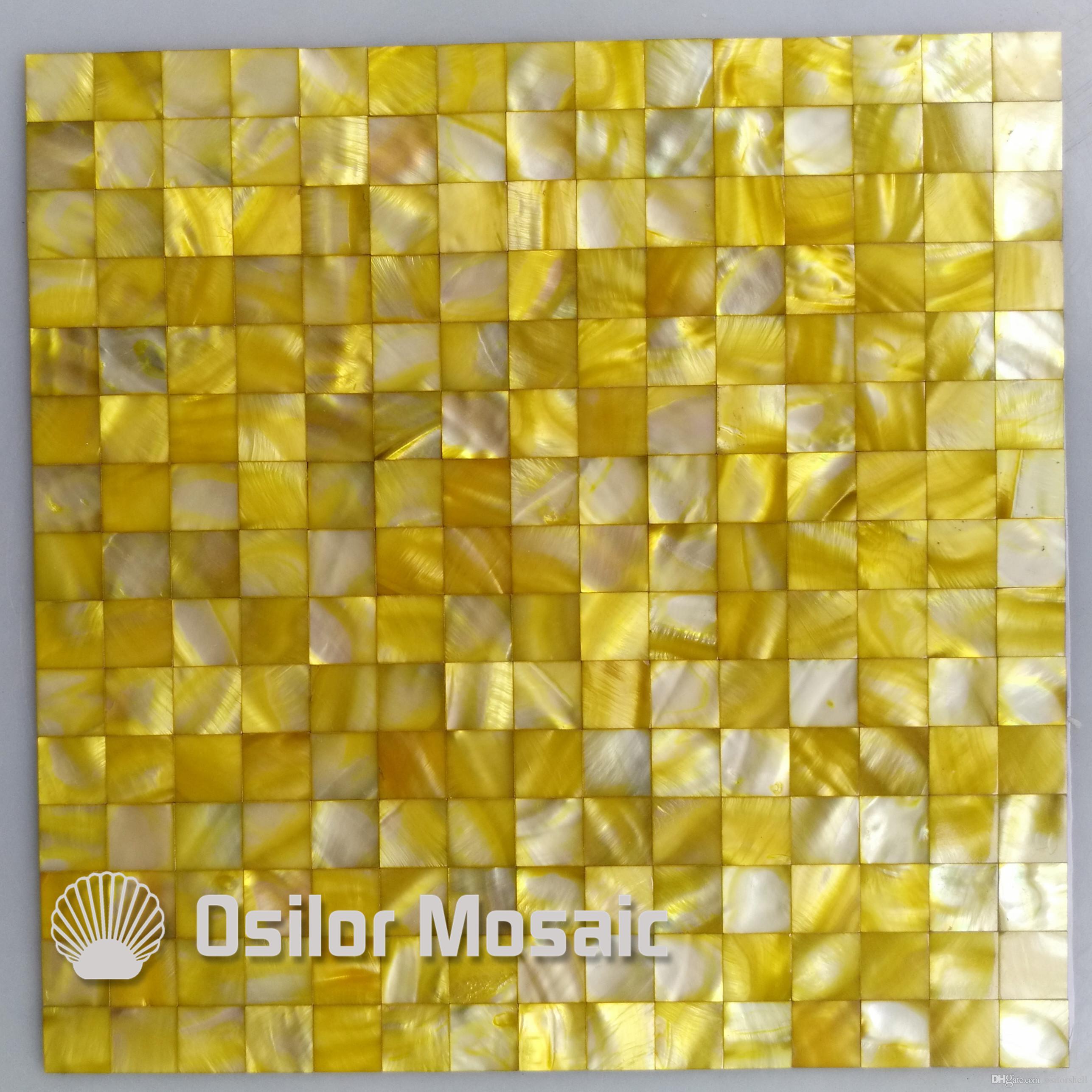 Come Decorare Piastrelle Cucina acquista tessere di mosaico giallo madreperla la decorazione di interni  casa cucina e piastrelle del bagno piastrelle di mosaico di guscio senza