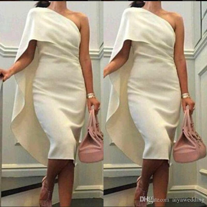 2019 Short Cheap Women Cocktail Dresses One Shoulder Sheath Prom Dresses With Cape Tea Length Party Dress Plus Size Formal Homecoming Gowns