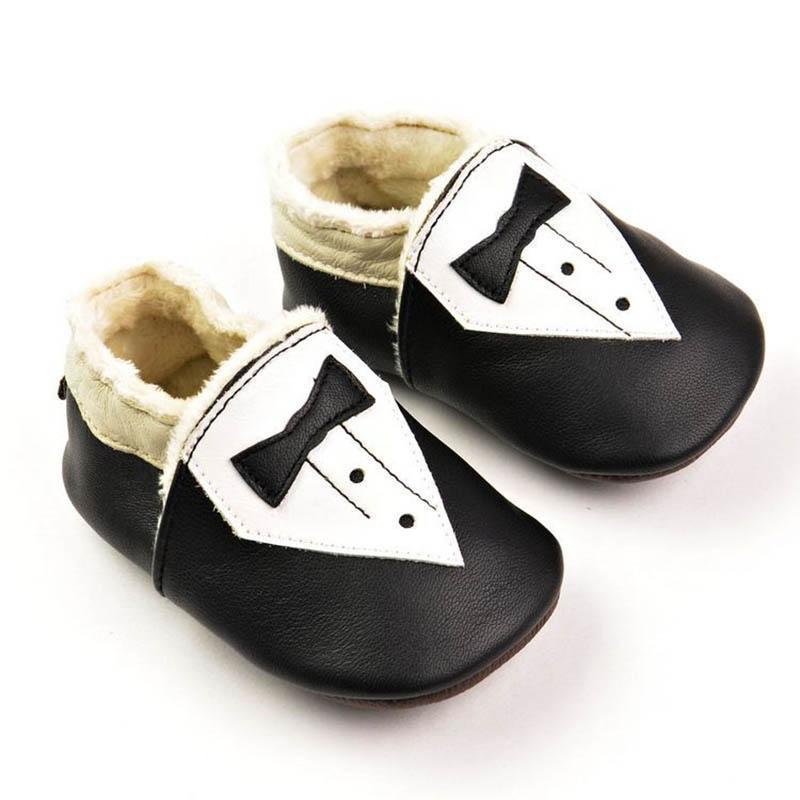 Baby Moccasins Gentleman Velvet Winter Genuine Leather Prewalker Shoes First Walking Shoes Soft Sole Anti-slip Infant Shoes