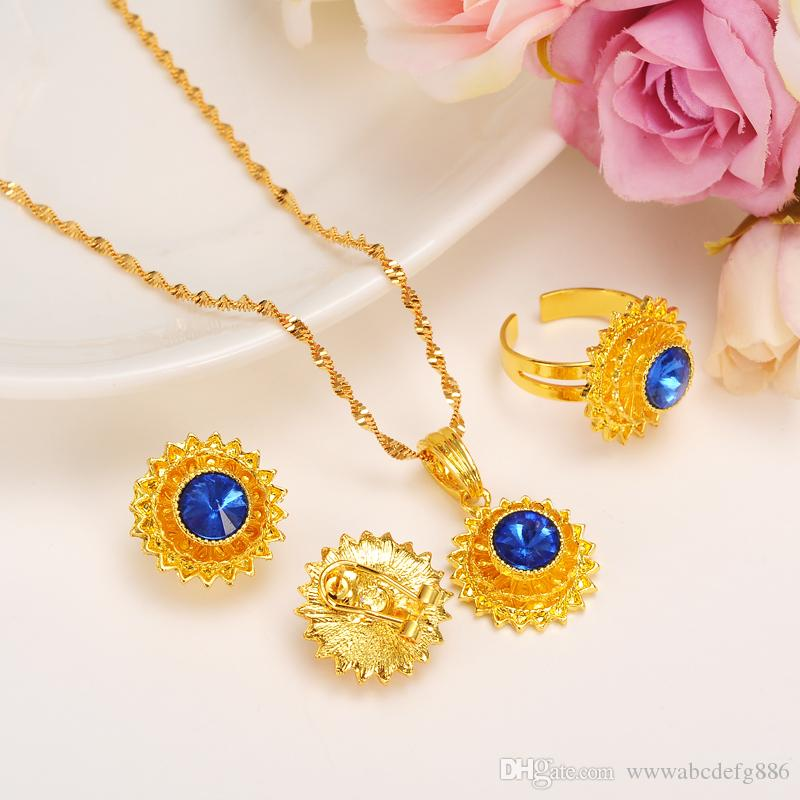 Fine women Ethiopian 24k Real Solid Yellow Golid GF CZ Emerald Sapphire Ruby rhinestone earrings/ring/pendant/chain jewelry sets