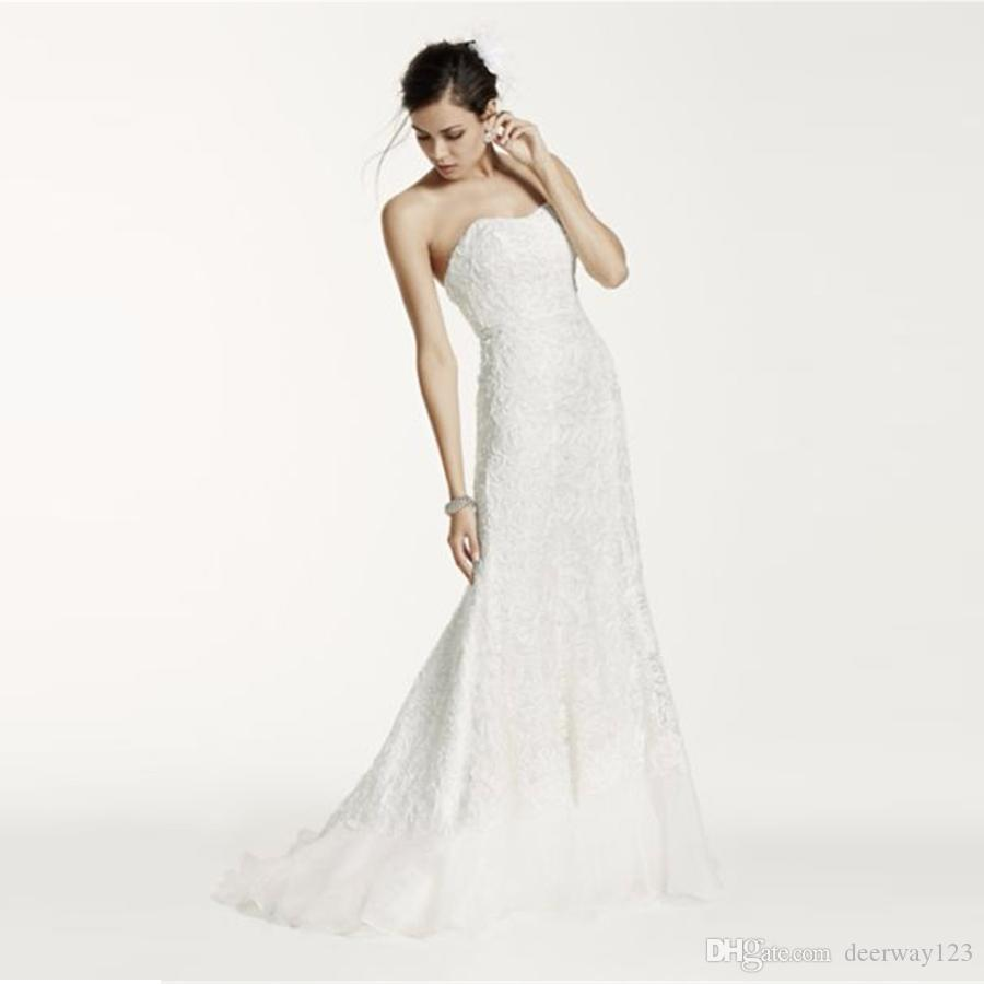 Superposición de la venta caliente cordón hermoso vestido de novia con el tren de Charmeuse envoltura del amor Diseñador abertura en la espalda Vestidos de novia SWG400