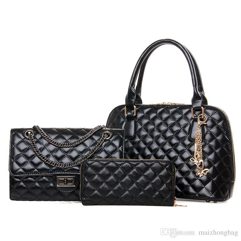 2017 горячие продажи ресниц пакет 3 шт. Набор сумки crossbody кошельки сумки бренды имена цепи классический Алмаз решетки дорожная сумка