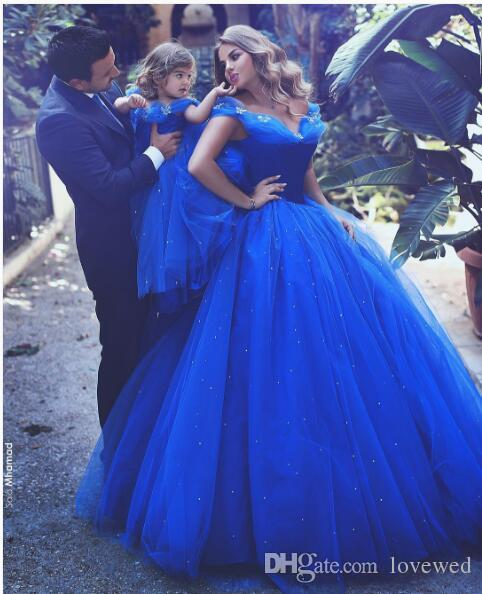 2017 Princess Royal Blue Tulle Mother And Daughter Matching Outfits ...