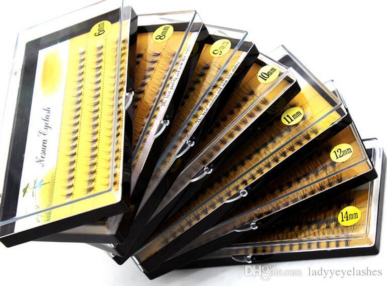 10 cheveux / cluster Flare Knot Free cils de soie Naturel Long Noir Extension de cils individuels Kit d'extension synthétique Livraison gratuite
