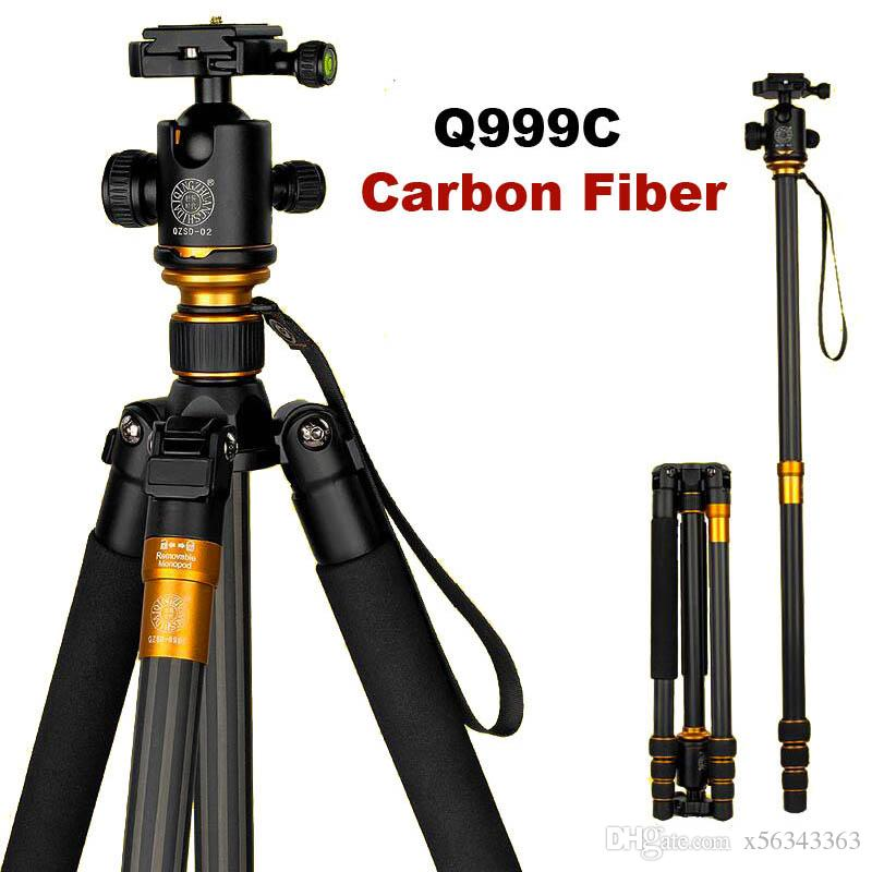 QZSD originale Q999C in fibra di carbonio professionale DSLR Camera Tripod monopiede + testa a sfera Portable Photo Camera stand Meglio di Q999 MOQ: 1PCS