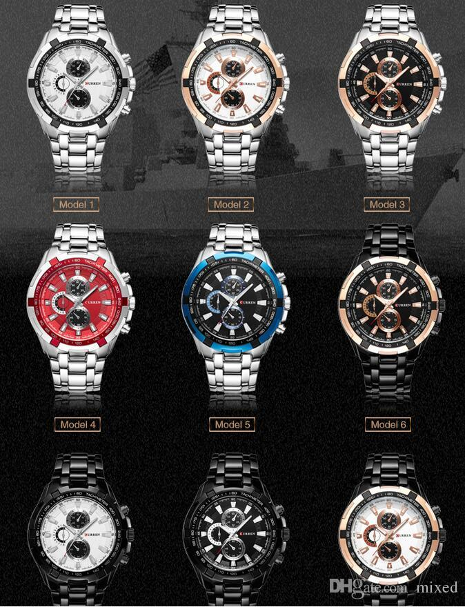 CURREN 8023 Мужская Мужские часы Бизнес Strip Большой циферблат водонепроницаемый кварцевые часы