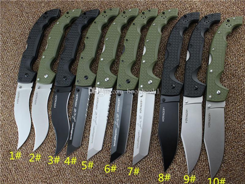 10 types Cold Steel COUTEAUX VOYAGER série XL-SIZE Grand couteau pliant utilitaire survie couteaux tactiques de chasse en plein air Livraison gratuite.
