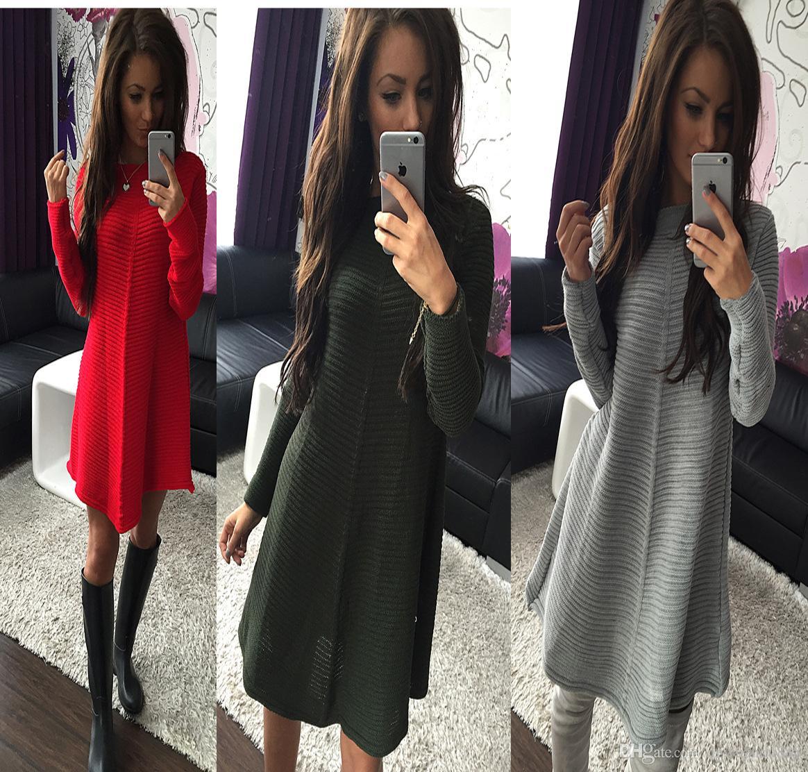 Compre Mujeres Calientes Vestidos De Material De Suéter A Rayas Horizontales Vestido De Manga Larga Ropa De Mujer De Estilo Europeo Y Americano St1016