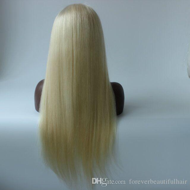 BLeach Blonde #613 Human Hair Straight Glueless Full Lace Wigs Baby Hair Around 100% Brazilian Human Hair Wigs In Stock