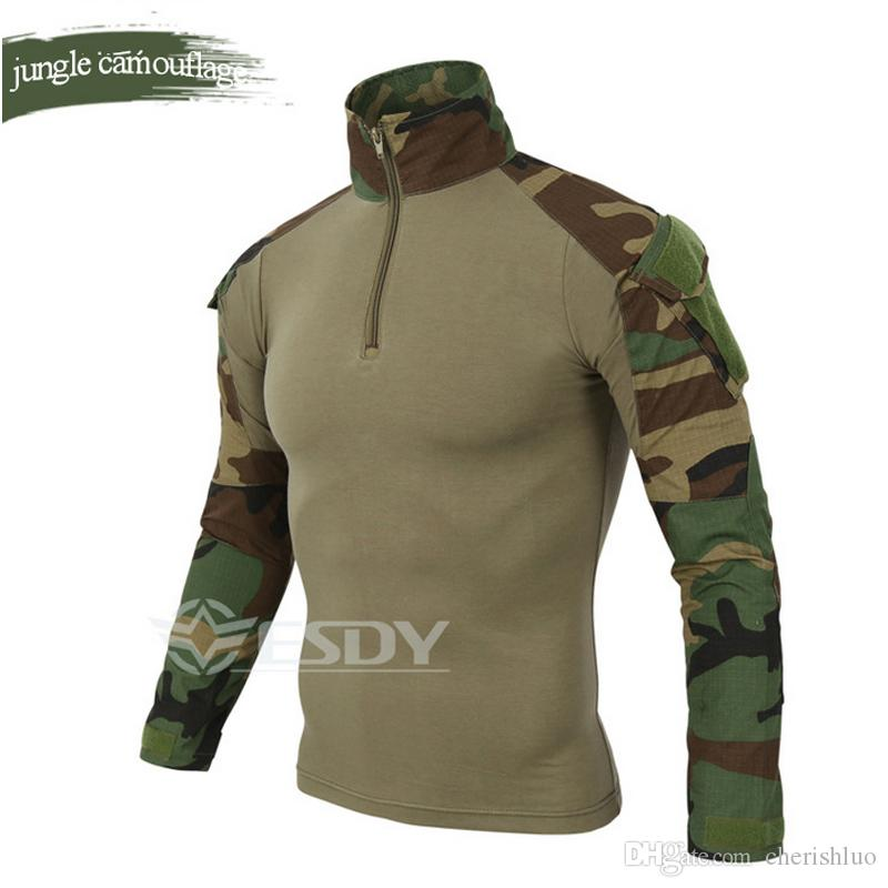 Commercio all'ingrosso ESDY Marca Camouflage Manica Lunga Frog Suit Uomo Tops Tactical Tool Cargo t Shirt Esercito Militare Combattimento Tee 7 Colori