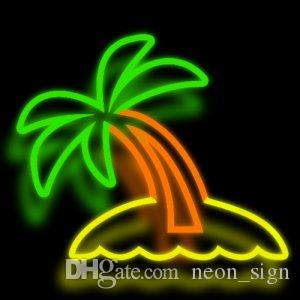 "Palm Tree Neon Sign Real Glass Custom Handmade Beer Bar KTV Club Pub Store Motel Home Decoration Window Art Neon Signs 17""X14"""