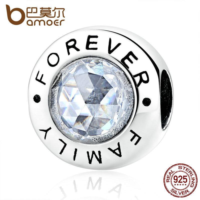 Pandora estilo clásico 925 Familia de plata para siempre, CZ clara apta del grano BME encanto pulseras joyería de moda PAS378