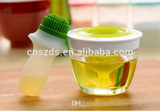 Cucina in vetro olio bottiglia pentola contenitore anti perdita di olio con silicone imbastitura pennello BBQ strumento in silicone pennello in vetro vaso 48 pz / ctn