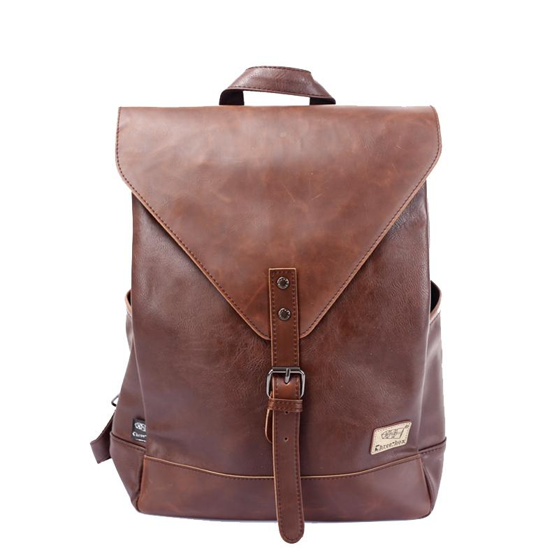 Wholesale- Three-Box Men Backpack For Teenagers Male Youth PU Leather Bag School Satchel Laptop Women Backpacks Casual Rucksack 3514
