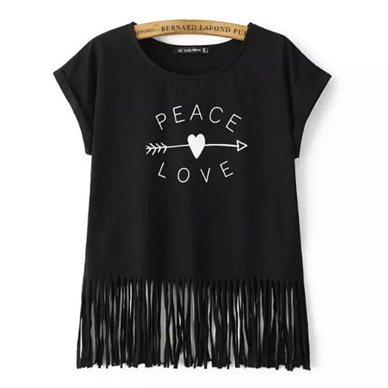 Toptan-BARIŞ AŞK Baskı Kadın Tshirt Beyaz / Siyah Casual Kısa Kollu Tee Gömlek Yeni Bahar Yaz O Boyun Püskül Camisetas Femininas Tops