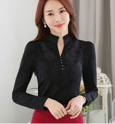 9ae290bbfda2da YIMOSI Autumn Lace Women Blouse 2017 Korean Style Long Sleeve Lady Shirts  White Black Office Tops Sexy Female Work Wear Blouse