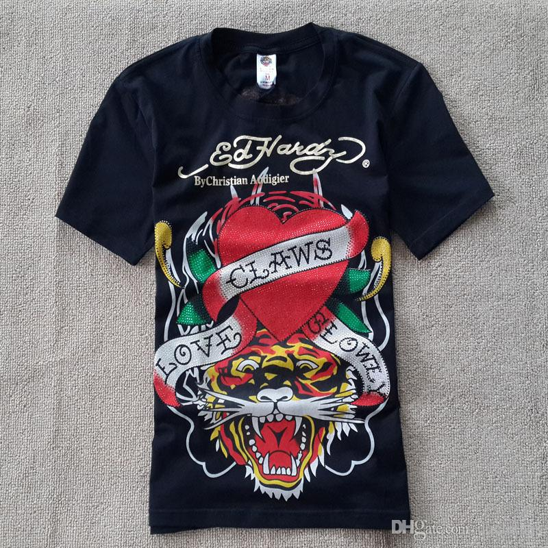 real quality hot-selling fashion cheap price Hot ED HARDY Men'S Cotton Tiger Printing Hot Diamond T Shirt ED HARDY Men'S  Cotton Printed Hot Drilling ED HARDY T Shirts Link Shirts T Shirt T From ...