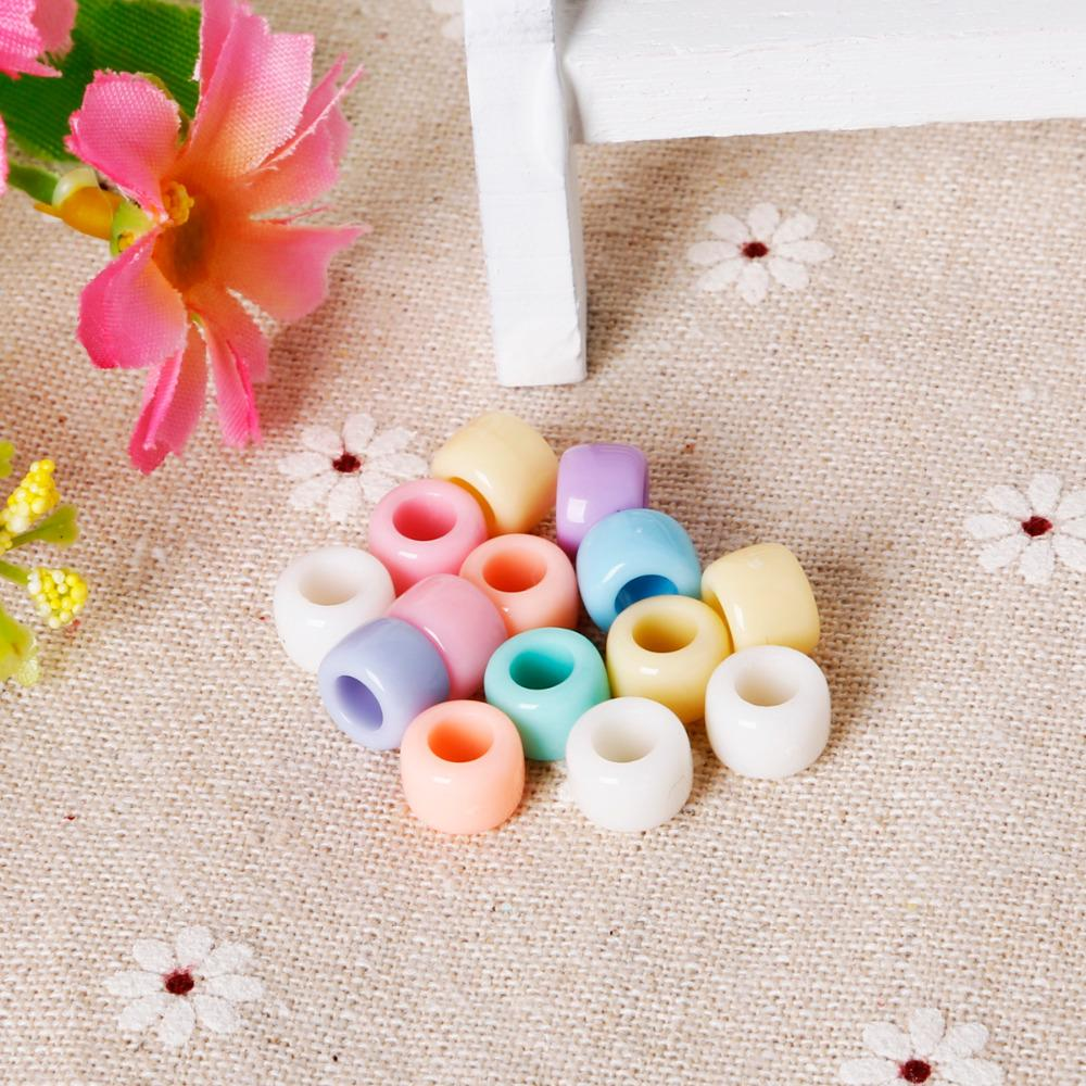 Vente chaude 200 pcs 6x8mm Acrylique Couleur Mixte Opaque Multi Perles En Plastique Lâche Grand Trou Perles Livraison Gratuite Bracelet Perles