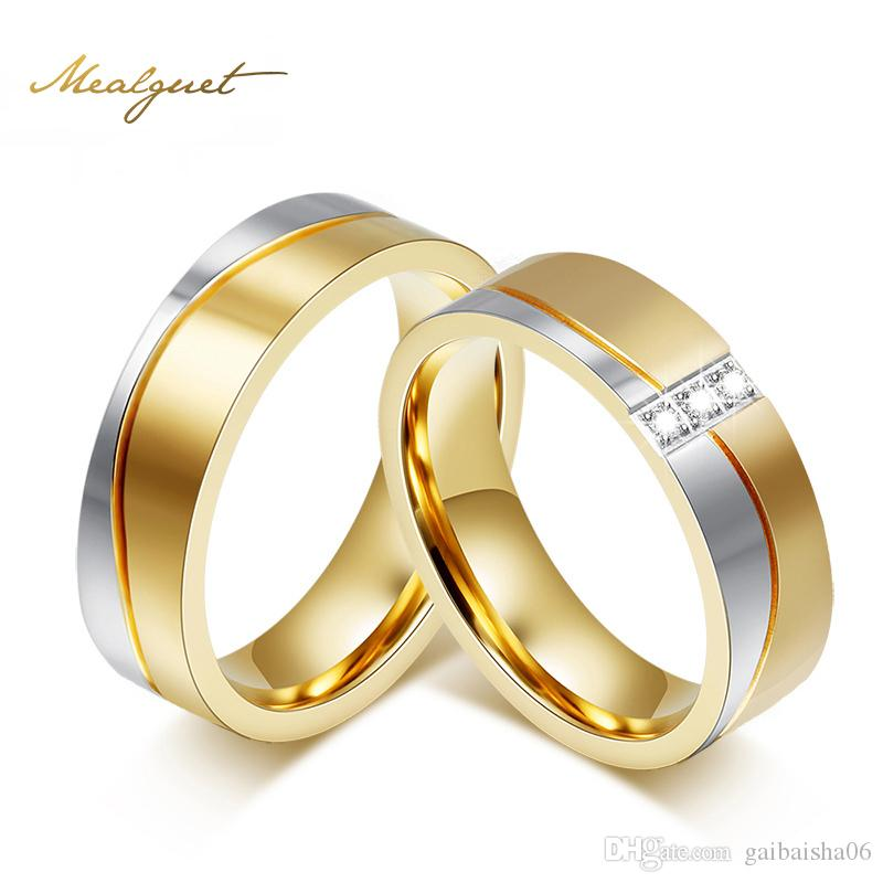 MEAEGUET Fashion Bijoux Anneaux de mariage pour hommes / femmes Bague de fiançailles en acier inoxydable couleur or-053