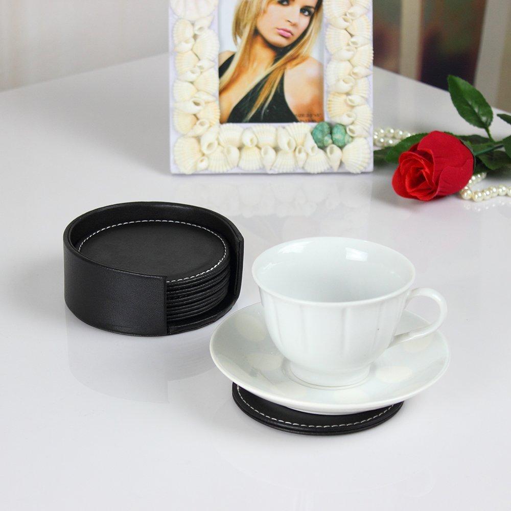 Toptan-Toptan Paspas Pedleri, iCarekit, içecekler Tutucu 6pcs Deri Ofis Masası Yuvarlak Coasters Seti - Siyah 460182