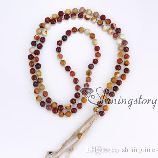 108 cuentas de oración tibetanas mala grano collar budista cuentas de oración pulsera larga borla collar de cuentas de curación al por mayor