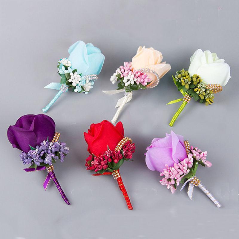 신랑 들러리 실크에 대한 도매 1PCS 아이보리 레드 들러리 그랬 꽃 웨딩 정장 부케, 액세서리 핀 브로치 장식 장미