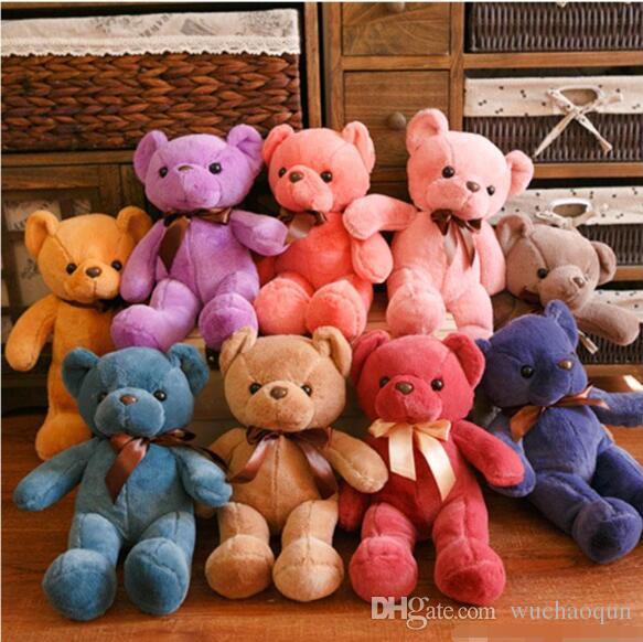 33 CM macio ursos de pelúcia brinquedos de pelúcia animais urso bonecas com Bowtie crianças brinquedos para crianças presentes de aniversário decoração do partido