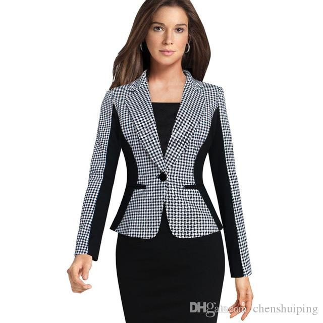 2020 Hot Fashion Womens Houndstooth Slim Fit Short Coats One