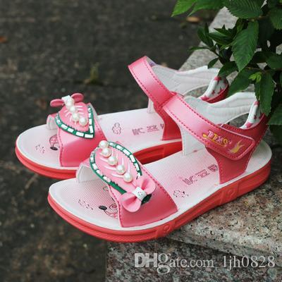 2017 summer girls sandals, leather shoes, Korean children's sandals, baby sandals, beach shoes tide