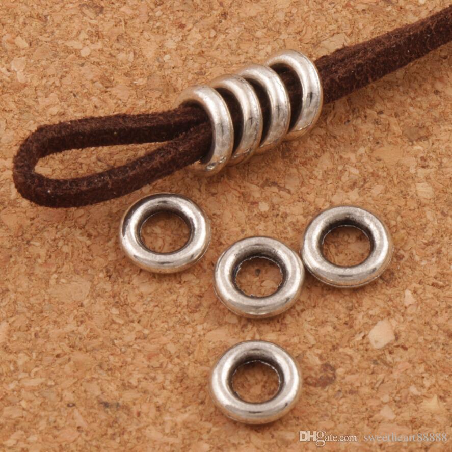 Glatte Kreise Spacer Metalllegierung Perlen 500 teile / los Antik Silber Baumeln Fit Armbänder Schmuck DIY L1484 7,9x7,9x1,9 mm