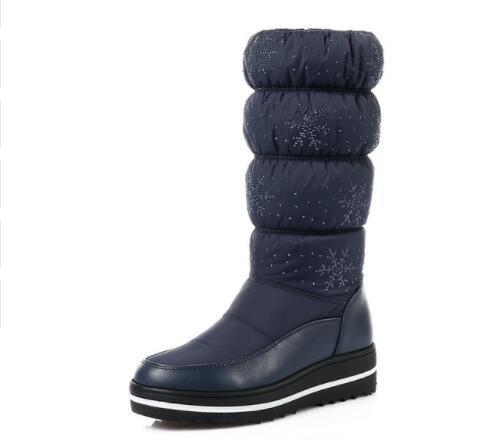 Mujeres Negro Botas de Media Pierna Cuña Med Heel Round Toe Zapatos de Invierno Cálido Mujeres Snowflake Elastic Ladies Snow Boots
