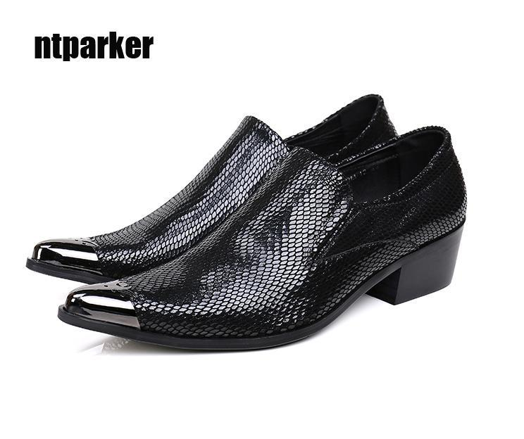 Sapatos de couro do homem de estilo britânico oxfords, ponited toe Business vestido sapatos preto para homem, altura aumentada, 38 a 46