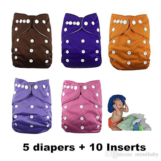 wholesale Naughty Baby Washable and Reusable Cloth Diapers (5 Diaper Covers + 10 Inserts) - Adjustable Snap One Size Cloth Pocket Diapers
