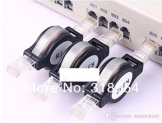 1000pcs / lot retrattile LAN Ethernet cavo di rete RJ45 Nero 1.5M / 5FT libera il trasporto da DHL o FEDEX 0001