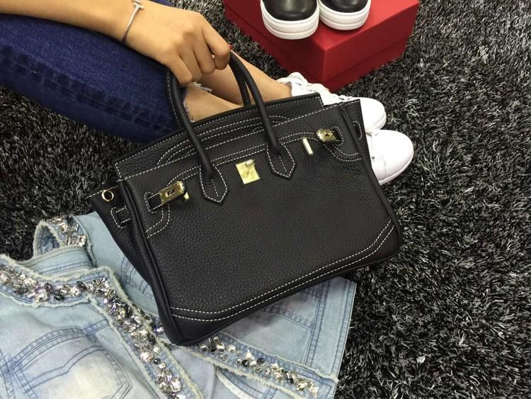 2016 Luxury H Handbag Women\`s Litchi Cowhide Messenger Bag Genuine Leather Famous Designer Shoulder Crossbody Totes Ladies Bolsa (37)