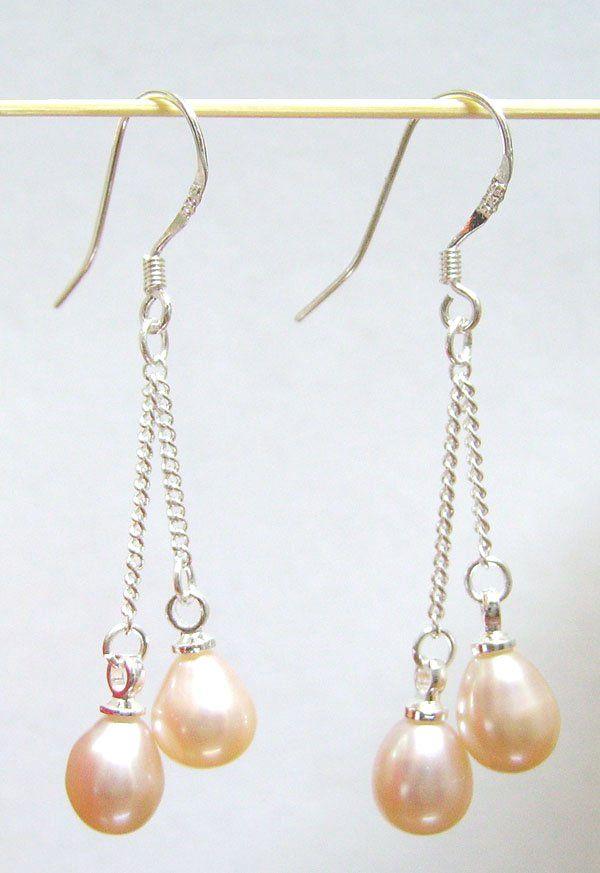 10 Par / Lot Pink Fashion Pearl Kolczyki Silver Hook Dynda Żyrandol Dla Kobiet Biżuteria Prezent Craft C0002